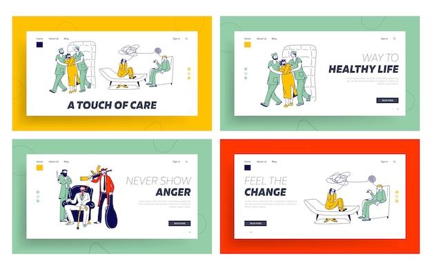 Patiëntkarakter in keurslijf in asiel, maffiaband mental health clinic landing page template set.