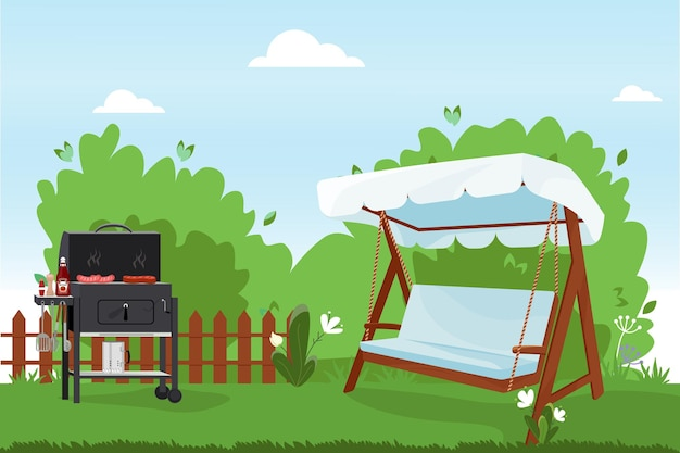 Patio platte vectorillustratie achtertuin van het huis met bbq veranda schommelbank met touwen