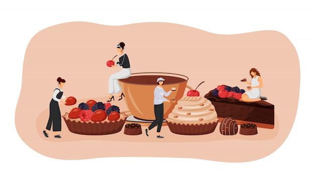 Patisserie platte concept illustratie. scherpe aardbei en framboos. chocoladetaart segment. cafe bezoekers 2d stripfiguren voor webdesign. premium creatief idee voor gebak