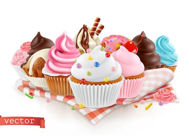Patisserie, zoetwaren. zoet dessert. taart, cupcake, realistische vector