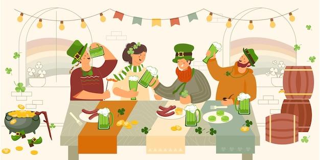 Patrick day party beer indoor compositie met menselijke karakters van vrienden aan restauranttafel die bier illustratie drinken