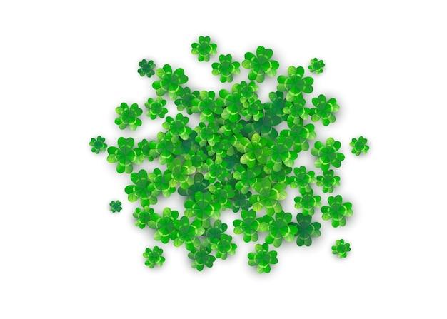 Patricks day achtergrond in ronde cirkelvorm met groene klaverblaadjes