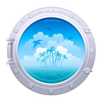 Patrijspoort illustratie. schipvenster met overzees landschap met palmeiland en zeemeeuwen.