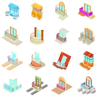 Patrijspoort materiële pictogrammen instellen, isometrische stijl