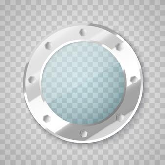 Patrijspoort met transparant glas. cirkel venster.