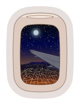 Patrijspoort weergave tijdens de vlucht illustratie
