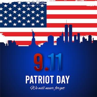 Patriot dag achtergrond new york city skyline en amerikaanse grunge vlag vector Premium Vector