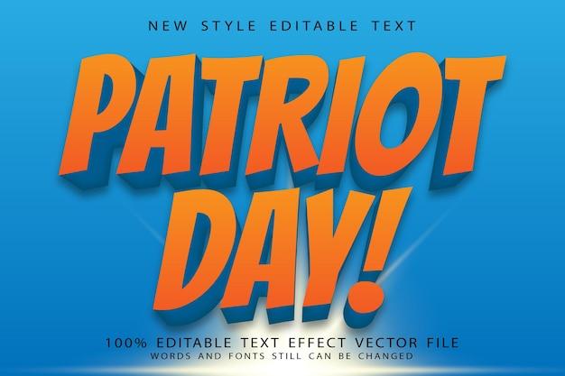 Patriot dag bewerkbaar teksteffect reliëf komische stijl