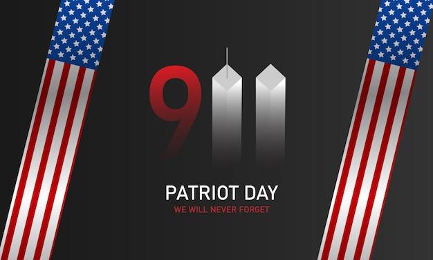 Patriot-dag, we zullen het nooit vergeten. torens. 11 sept. vlag van de verenigde staten. vector illustratie