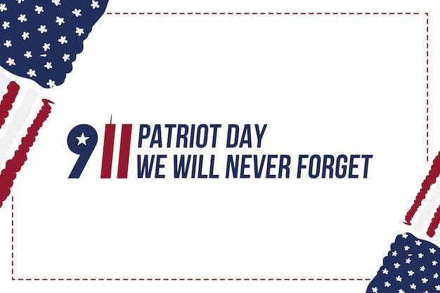 Patriot day 11 september 2001 we zullen het nooit vergeten. lettertype inscriptie met de vlag van de vs op een witte achtergrond. banner aan de dag van het geheugen van het amerikaanse volk. vlak element eps 10