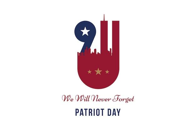 Patriot day 11 september 2001 we zullen het nooit vergeten. lettertype inscriptie met stadssilhouet op een achtergrond. banner aan de dag van het geheugen van het amerikaanse volk. vlak element eps 10