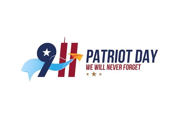 Patriot day 11 september 2001 we zullen het nooit vergeten. lettertype inscriptie met twin towers op een witte achtergrond. banner aan de dag van het geheugen van het amerikaanse volk. vlak element eps 10