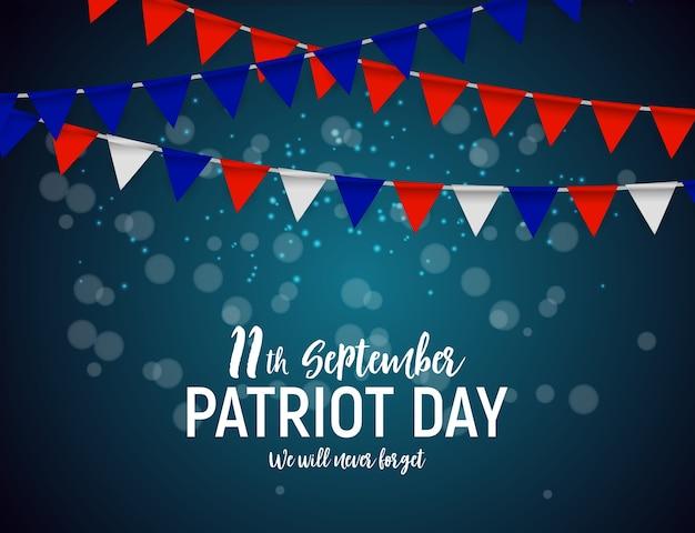 Patriot day usa poster achtergrond. 11 september, we zullen nooit vergeten. vector illustratie.