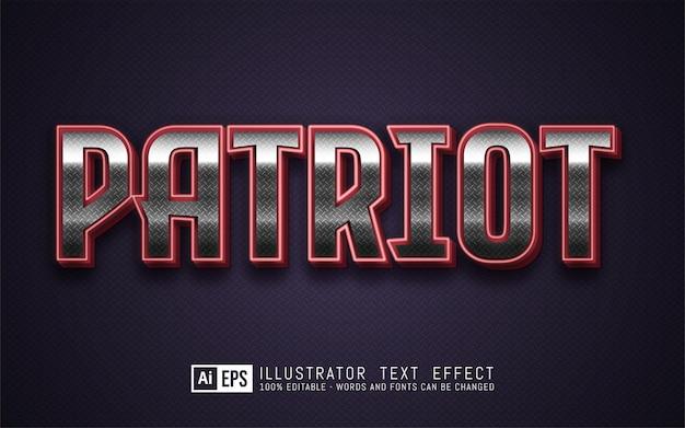 Patriot-teksteffect, bewerkbare 3d-tekststijl
