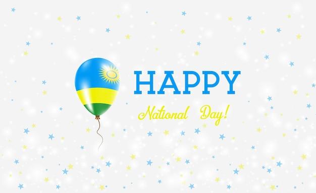 Patriottische affiche van de nationale dag van rwanda. vliegende rubberen ballon in de kleuren van de rwandese vlag. rwanda nationale feestdag achtergrond met ballon, confetti, sterren, bokeh en sparkles.