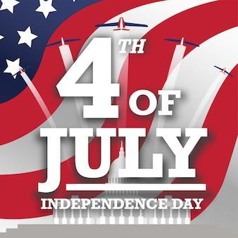 Patriottische amerikaanse vierde van de groetenkaartpost van juli