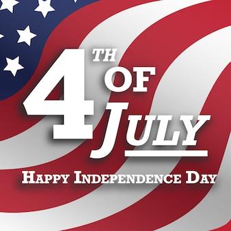Patriottische amerikaanse vierde van de realistische de post van de groetenkaart van juli