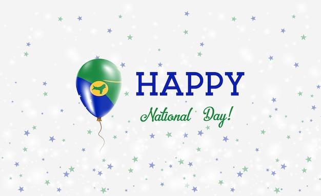 Patriottische poster van de nationale feestdag van christmas island. vliegende rubberen ballon in de kleuren van de vlag van christmas island.