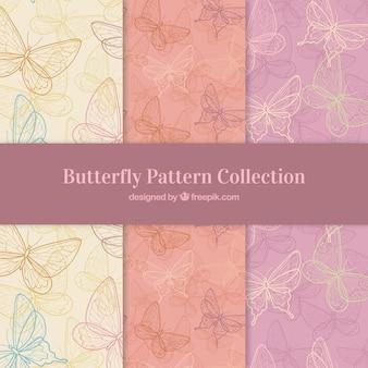Patronen collectie van vlinders schetsen