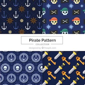 Patronen met traditionele elementen van piraten