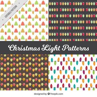 Patronen van kerst lichtslingers en bomen