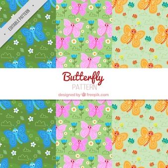 Patronen van vlinders en bloemen