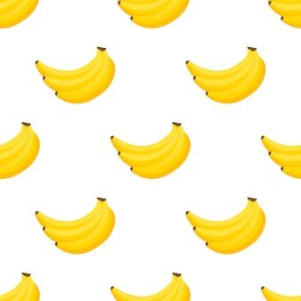 Patroon banaan. bossen van verse banaanvruchten die op wit worden geïsoleerd