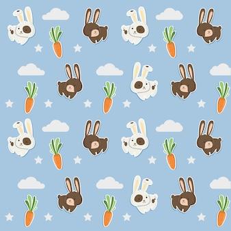 Patroon blauw schattig konijn en wortelen.