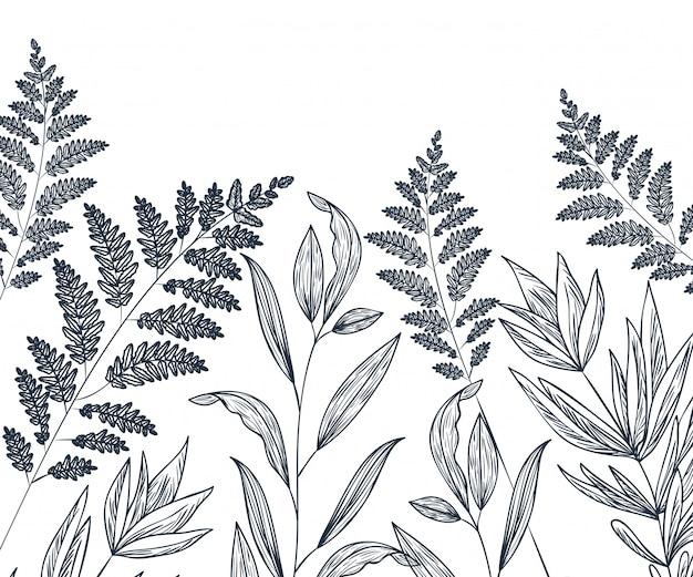 Patroon bloemen en bladeren geïsoleerde pictogram