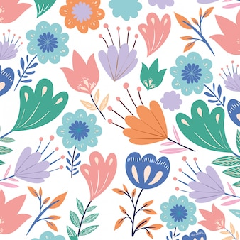 Patroon bloemen met bladeren geïsoleerde pictogram