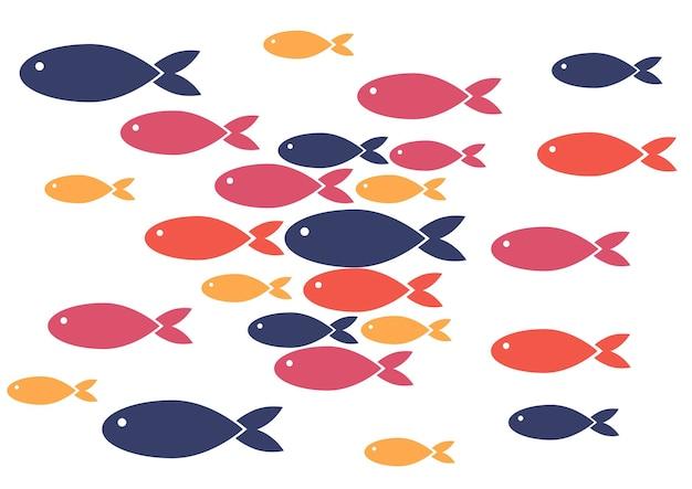 Patroon drijvende kudde vis