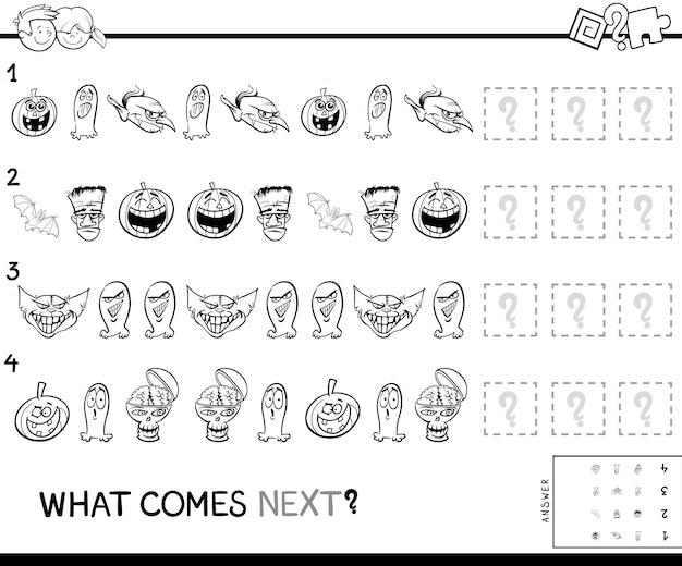 Patroon educatief spel met halloween-tekens