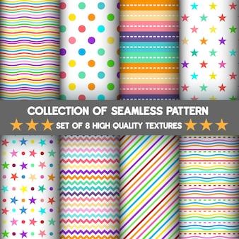 Patroon en naadloos van set voor regenboog en pastel achtergrond is wit.