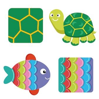 Patroon en textuur van bijen lieveheersbeestje schildpad vis