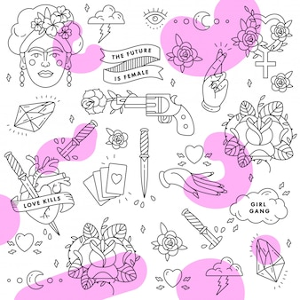 Patroon. feminisme slogan. vrouw gelijk. girl power citaat. icon set mode-symbool met portret van frida kahlo, diamant, rozen en vrouwelijke symbolen. backgroung.