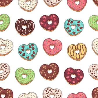 Patroon. geglazuurde donuts versierd met toppings, chocolade, noten.