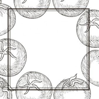 Patroon heerlijke tomaten in tekening