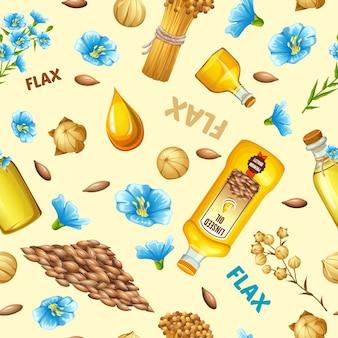 Patroon lijnzaadolie, vlasveld, zaden, bloemen.