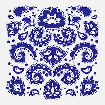 Patroon maker tataarse oosterse doodle retro ornament elementen illustratie set