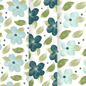 Patroon met abstracte aquarel blauwe bloemen