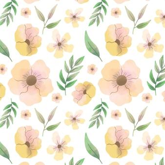 Patroon met abstracte aquarel gele bloemen