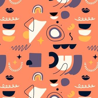 Patroon met abstracte vormen in vlakke stijl