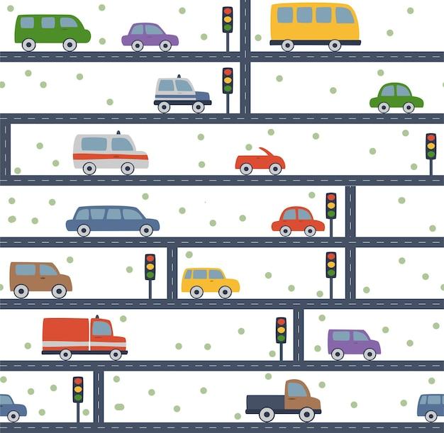 Patroon met auto's verkeerslicht en weg