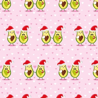 Patroon met avocado's van het nieuwe jaar. merry christmas printing op een poster, briefkaart, kleding.