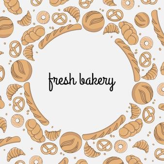Patroon met bakken. frame met bakken. brood, broodje, stokbrood, donut, croissant, koekjes.
