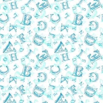 Patroon met blauwe letters
