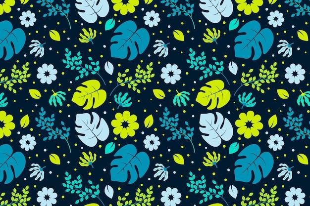 Patroon met bloemen en bladeren Gratis Vector