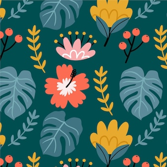 Patroon met bloemen en bladeren