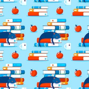 Patroon met boeken. stapels boeken naadloze patroon. kat die op een boek rust.