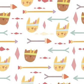 Patroon met bohodieren en pijlen